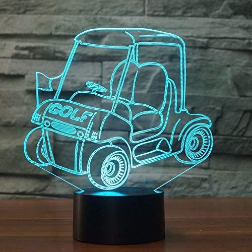 3d illusion nachtlicht 7 farbe led vision golf auto warenkorb schalter schlafzimmer dekoration tisch kind acryl 3-in-1 modus usb party kinderzimmer bunte kreative geschenk fernbedienung -