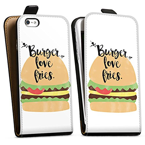 Apple iPhone X Silikon Hülle Case Schutzhülle Burger Fastfood Essen Downflip Tasche schwarz