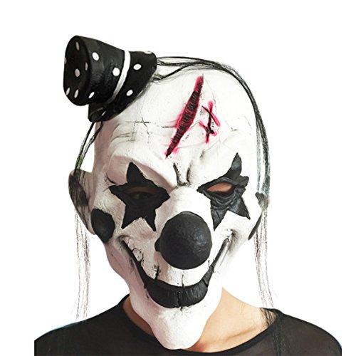 Pinji Halloween Latex Clown Maske Schwarz und Weiß für Erwachsene & Kinder Cosplay Party Deko
