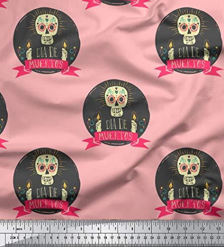Soimoi Rosa modaler Satin Stoff Text & Schädel Halloween gedruckt Craft Fabric 1 Meter 42 Zoll breit