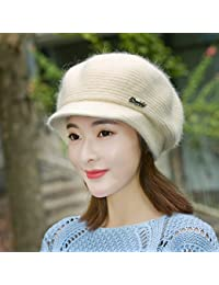 LIUXINDA-ZZM Sombrero Mujer Invierno Moda Coreana Orejeras Pelo de Conejo  Color sólido Pato Lengua Boina cálido Lana Tejida Sombrero otoño… 3b158c52dea