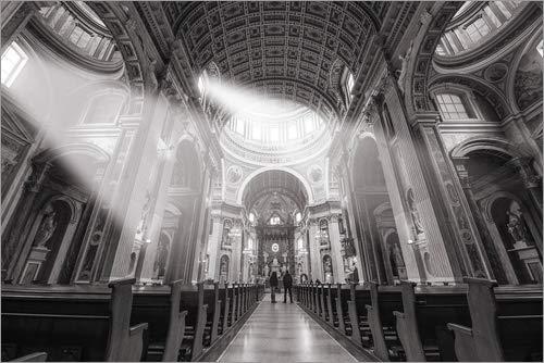 Leinwandbild 150 x 100 cm: Sun-Strahlen in der Kathedrale von George Pachantouris - fertiges Wandbild, Bild auf Keilrahmen, Fertigbild auf echter Leinwand, Leinwanddruck