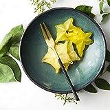 Cuenco elegante Plato de ensalada, cerámica, acero inoxidable Tenedor de fruta Tenedor de pastel creativo Tenedor de postre Vajilla occidental Tenedor de ensalada Tenedor de dos dientes (Color: verde