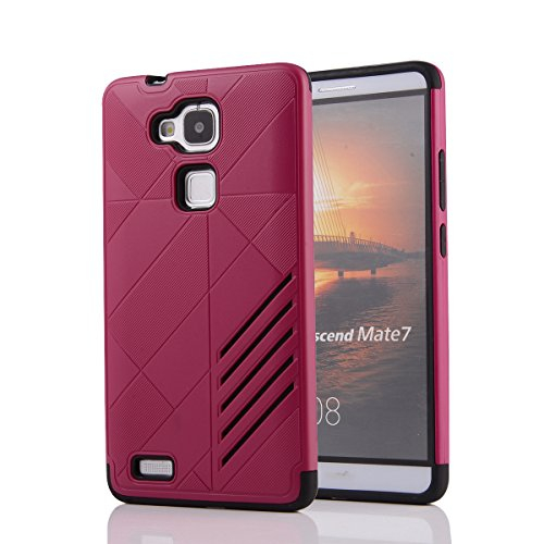 Huawei Ascend Mate 7 Hülle, Moonmini® 2 in 1 Hybrid Combo Body Armor TPU mit PC Kasten-Abdeckung für Huawei Ascend Mate 7 - Hot Pink