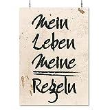 HAPPY FREAKS Poster 'Mein Leben' DIN A2 - Motivations-Wandbild - Plakat ohne Rahmen - Bilder und Dekoration