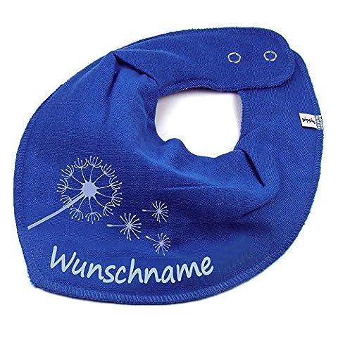 HALSTUCH PUSTEBLUME mit Namen oder Text personalisiert mittelblau für Baby oder Kind (Schmetterling Tuch Lätzchen)