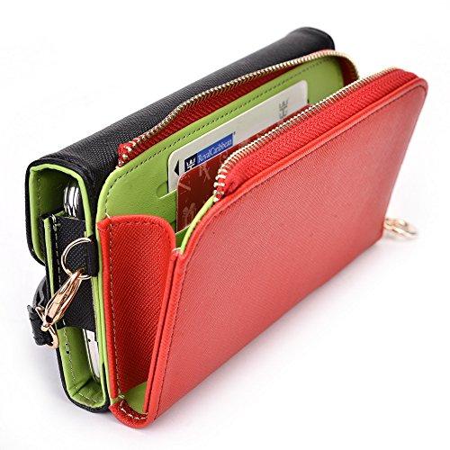 Kroo d'embrayage portefeuille avec dragonne et sangle bandoulière pour Samsung Galaxy A7 Black and Orange Noir/rouge
