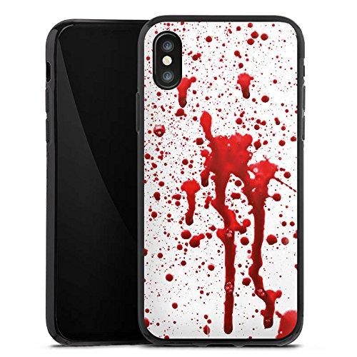 Apple iPhone X Silikon Hülle Case Schutzhülle Blut Halloween Gothic Silikon Case schwarz