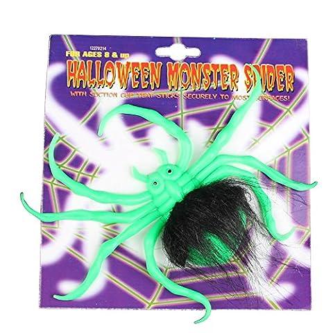 Eizur Halloween Horror Gummi Spinne mit leuchtenden Gruselig Realistisch Deko-Spinne Requisiten Dekoration Spielzeug Halloween Deko Party für Karneval und
