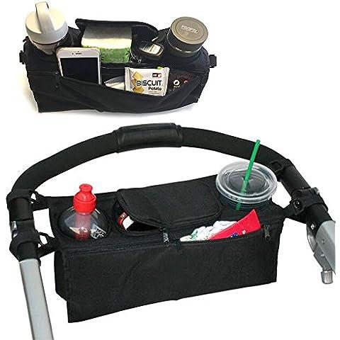 Borsa per passeggino o carrozzina passeggino Passeggino Organizzatore sicuro Console vassoio della mummia pacchetto Bibita Coppa Bottle Holder bagagli Pouch Maniglia Hanging Pallet del pannolino del bambino Forniture Bag-Misura universale