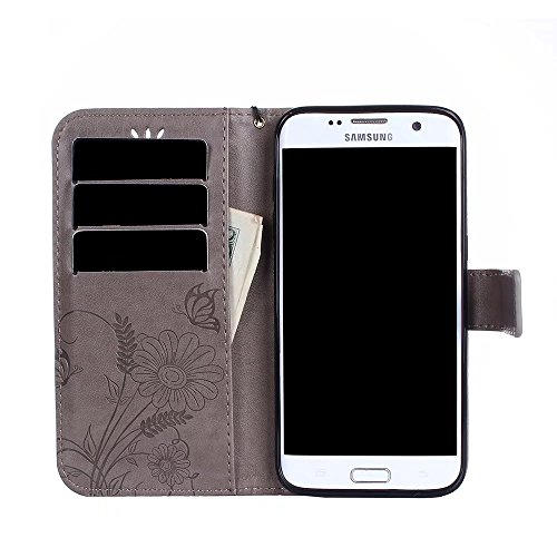 Horizontale Bookstyle Flip Case Premium PU Ledertasche, Solid Color Embossed Blumen Schutzbrieftasche Case Cover mit Lanyard & Stand für Samsung Galaxy S7 Edge ( Color : Modena ) Gray