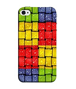 PrintVisa Designer Back Case Cover for Apple iPhone 5 (Green Red Yellow Blue Box Checks Squares Design)