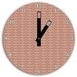 Muster Vintage Altrosa, Wanduhr Durchmesser 30cm mit schwarzen eckigen Zeigern und Ziffernblatt, Dekoartikel, Designuhr, Aluverbund sehr schön für Wohnzimmer, Kinderzimmer, Arbeitszimmer