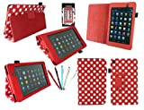 Emartbuy® Asus Google Nexus 7 2 II Tablet (Lanciato Luglio 2013) Bundle 5 Doppia Funzione Stylus + Pois Rossi / Pu Bianco Multifunzioni In Pelle / Multi Angle Portafoglio / Cover / Stand / Case Typing