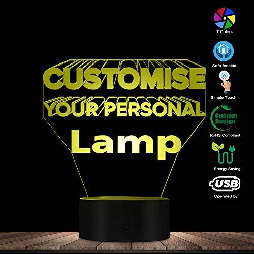 PTSHOP Personalisierte 3D beleuchtete Lampe LED-Beleuchtung Moderne 3D 7 Farblicht-optische Täuschungs-Lampe Hauptdekor-Geschenk-Idee Entwerfen Sie Ihre Lampe