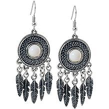 geralin Gioielli–Pendientes atrapasueños color blanco plata indios pendientes vintage