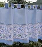 Gustav Gerster Scheibengardine Kinder Gardine Cafehausgardine Kurzstore Kinder Zimmer Bistrogardine für Kindergarten Kita Baumwolle 50x150 cm blau-weiß