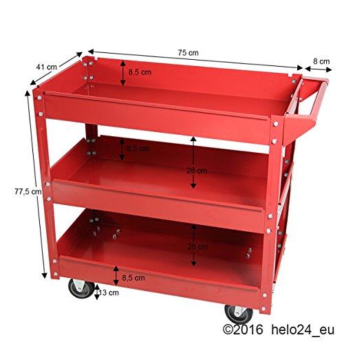 Werkstattwagen mit 3 Ablagen Werkzeugwagen Lagerwagen - 6