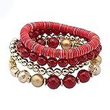 Amesii 4pz ciondoli Gioielli Infinito a Mano Wrap bracciali Multistrato Braccialetto Perline Colorate Donne Ragazza Lady Gift e Lega, Colore: Red, cod. O5ST6L4DDHB2585Y9