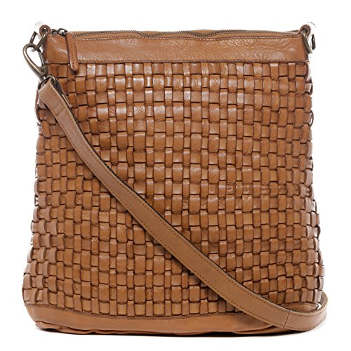 BACCINI® Beuteltasche ROSA Damen Schultertasche groß Ledertasche Hobo Bag Vintage-Look Damentasche echt Leder Vintage hellbraun (Leder-camel Hobo)