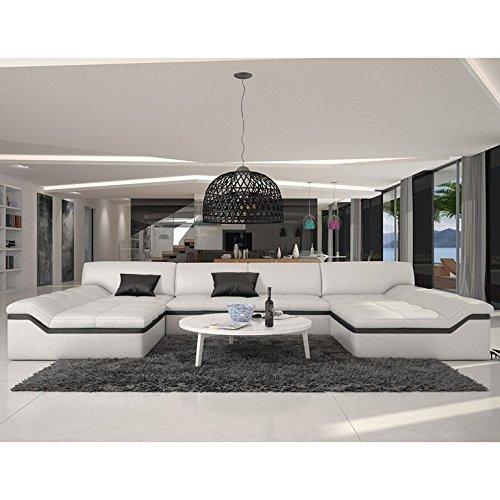 XXL Wohn-Landschaft mit Kunstleder Bezug 380x220 cm U-Form weiß / schwarz | Sarari-U | Designer Eck-Sofa mit 2 Recamieren | Couch-Garnitur für Wohnzimmer...