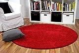 Hochflor Velours Teppich Mona Rot Rund in 7 Größen
