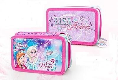 Disney Frozen 57224 Estuche 3 bisagras, Plumier Triple, 44 Piezas por Frozen