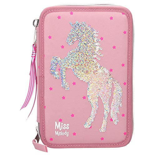 Depesche 10004 - Astuccio a 3 Scomparti, Miss Melody con Cavallo in Paillettes, Multicolore