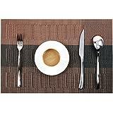 PVC Table Mats/Place Mats/Drawer Mats/Fridge Mats/Multipurpose Mats/Refrigerator Mats/Dinner Mats/Dinning Mats/Kitchen Place Mats, 30x45cm, 6 Piece Set-(T22X165465-Black&Copper )