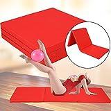 GOTPOTOP Gymnastikmatten Klappbar Weichbodenmatte Gymnastikmatte Yoga Fitness Matte 180x60x5cm 2 Farben Erwachsene und Kinder Sind anwendbar (Rot)