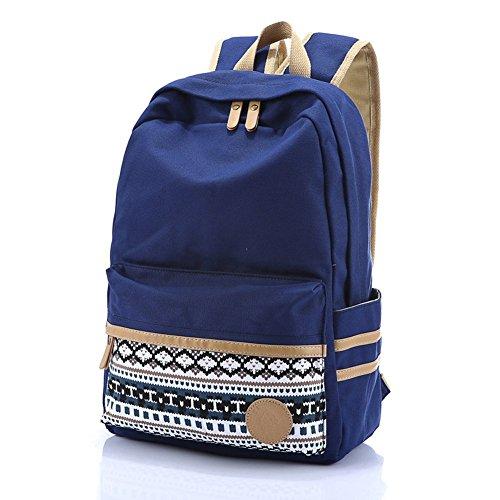 Butterme koreanischen Weinlese-Streifen-Segeltuch-Rucksack-Rucksack Daypack Shcool Bag College Tasche für Teenage Mädchen Jungen Tiefes Blau