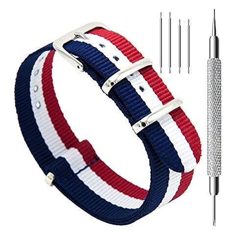 CIVO Bracelet de montre Bande Watch Bande de montre prime NATO Ballistic Nylon Bracelet en acier inoxydable Boucle 18mm 20mm 22mm avec la barre d'outils Top Spring et 4 Bars Spring Bonus (Navy/Crimson/Ivory, 22mm)