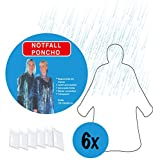 6x Regenponcho im Set durchsichtig transparent | Poncho mit Kapuze | Regencape Einweg Regenumhang Regenbekleidug Regenschutz | ideal geeignet für Festival Outdoor Events Camping Fahrrad fahren usw.