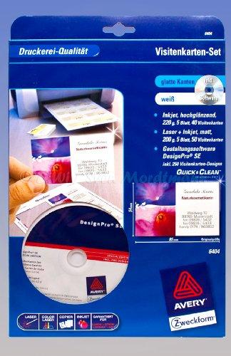 AVERY® Zweckform® 6404 Visitenkarten-Set, glatte Kanten (V13) (Intel-internet-karte)