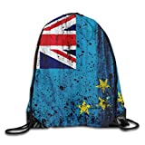 Liumiang Zaino con coulisse,Eco-Friendly Pirnt Oceania Tuvalu Grunge Flag Exotic Drawstring Bag for Traveling Or Shopping Casual Daypacks School Bags