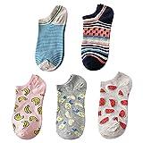 Lamdgbway 5 Paar Frauen Sneaker Socken Casual Baumwolle Knöchelsocken Keine Show Socken Obst