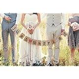 """Musuntas® Garland vintage / rústico kraft cartón """"Just Married"""" - como decoración para la boda con letras blancas"""