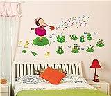 ufengke® Petite Fille Jouant de la Musique et Mignon Grenouilles Stickers Muraux, la Chambre des Enfants Pépinière Autocollants Amovibles