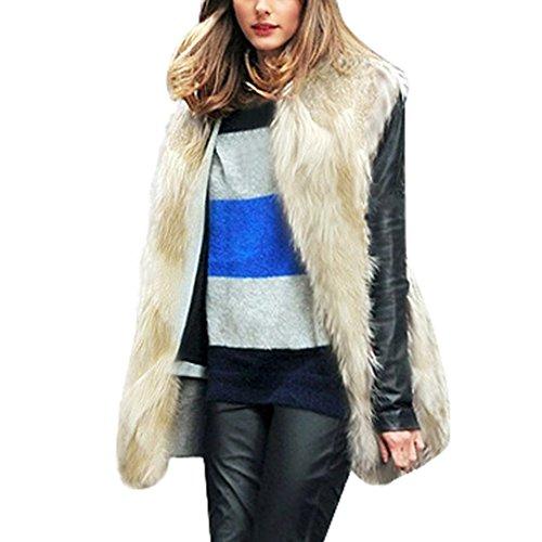 Koly Chaleco de Pelo Mujer Modelo Medio y Largo Sin Cuello Sobretodo Chaqueta de Pelos Vest Pelo Sintetico Chaleco Ajustado Coat Jacket Outwear Cardigan Ropa de abrigo chaquetones mujer (Beige, M)