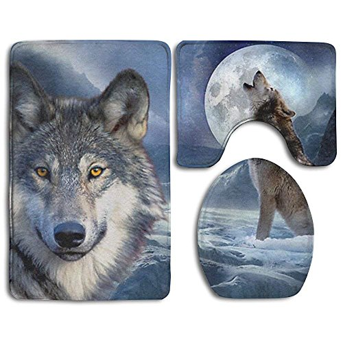 Meius Moon Wolf Antirutsch-Badematten Set 3-teilig Badteppich-Set inkl. Badteppich/Konturmatte/WC-Bezug