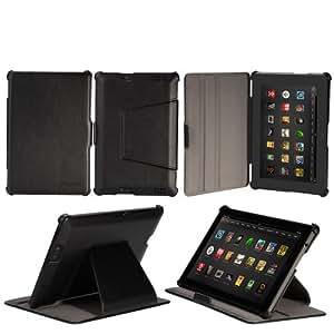 EasyAcc Leder Tasche hülle Schutzhülle für der neu Kindle Fire HD 7 (2013) mit standfunktion / Auto Wake up Sleep (PU Leder, Schwarz) --Nicht kompatibel mit Kindle Fire HD 2012