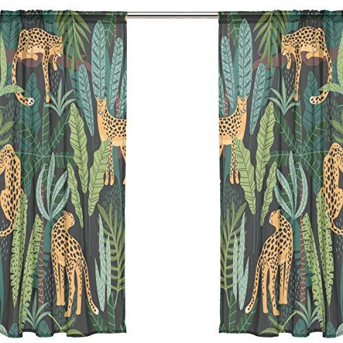 Orediy 2 Panels Voile Sheer Gardine Leopard im Dschungel Blätter Stange Pocket Lange Decke Vorhang Fenster Treatments Schlafzimmer Wohnzimmer Decor 200 x 140 cm, Polyester, Multi, 2 * 140W x 200 H (Vorhang-stangen Wohnzimmer Den Für)