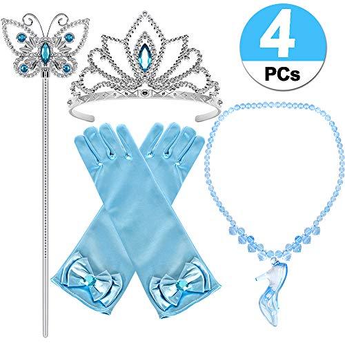 Casibecks Prinzessin Kostüm Mädchen Cinderella Kleid Zubehör Krone Tiara Zauberstab Blau Handschuhe Halskette 4Stk. Kind Party Cosplay Accessoires (Blau)