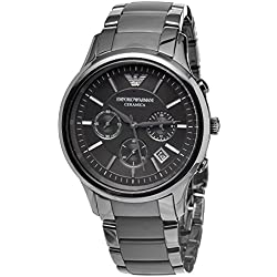 Men's Emporio Armani AR1452 Quartz Black Dial Ceramic Matte Chronograph Watch