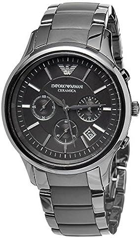 Men's Emporio Armani AR1452 Quartz Black Dial Ceramic Matte Chronograph Watch