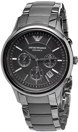 Emporio Armani Ar1452 à quartz pour homme Cadran noir en céramique Mat montre chronographe