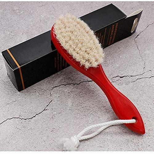 GUANHONG Lotus Holz-Farbe Roßhaar Retro Gradienten Haarschnitt gebrochen Haarbürste Dan Pinsel Öl Kopfbürste Bartpflege-Set Kamm -