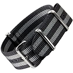NATO G10 Watch Strap by ZULUDIVER® Classic Bond Black and Grey Stripes
