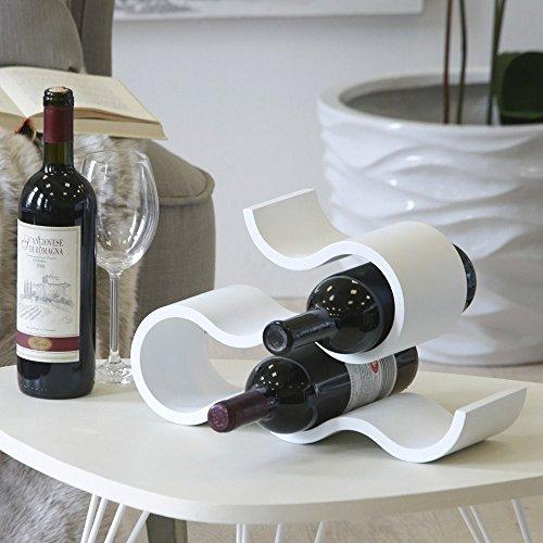 Casablanca Weinflaschenregal Flaschenhalter 'Curve' für 6 Flaschen, 36x11x22,5 cm, Weiß