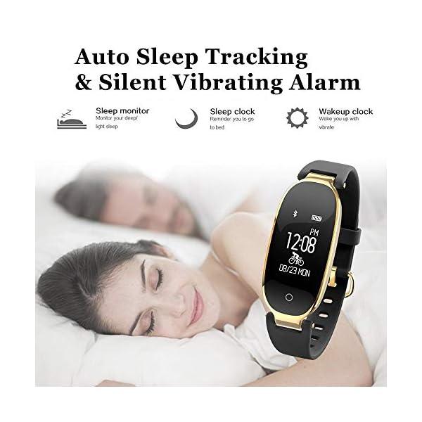 Rayfit Pulsera Actividad Reloj Inteligente Mujer Monitor de Ritmo Cardíaco Fitness Tracker Contador de Calorías Pasos Monitor de Sueño Podómetro Ejercicios Salud Pulsera Deportiva Pulsómetros 4
